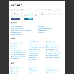 ZetCode, tutorials for programmers