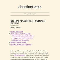 Baseline For Zettelkasten Software Reviews