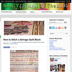 Nancy Zieman/Sewing With Nancy/Selvage Quilt/Quilting tips
