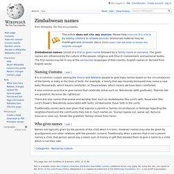 Zimbabwean names - Wikipedia