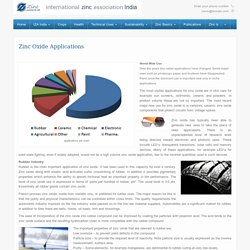 Zinc Oxide Applications - Zinc.org India