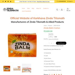 Buy Bulk Zinda Balm Carton - Soothing Relief From Body Pains & Cold