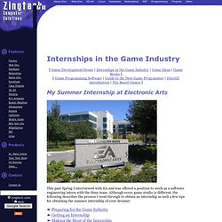 Internships in the Game Industry