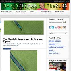 How to Sew a Zipper/Sewing With Nancy/Sewing A to Z book