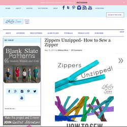 Zippers Unzipped- How to Sew a Zipper