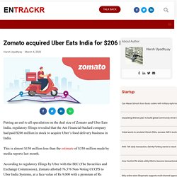 Zomato acquired Uber Eats India for $206 Mn