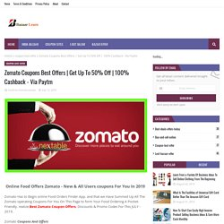 Zomato Coupons Best Offers