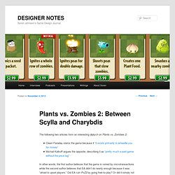 Plants vs. Zombies 2: Between Scylla and Charybdis