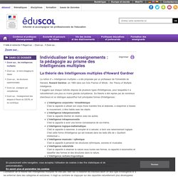 Eduscol les intelligences multiples