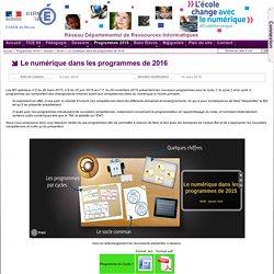 Zoom - Le numérique dans les programmes de 2016