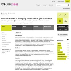 PLOS - 2019 - Zoonotic Babesia: A scoping review of the global evidence