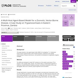 PLOS 27/12/16 A Multi-Host Agent-Based Model for a Zoonotic, Vector-Borne Disease. A Case Study on Trypanosomiasis in Eastern Province, Zambia.