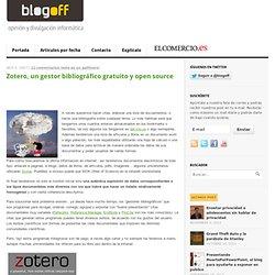 Presentacion de Zotero, un gestor bibliográfico gratuito y open source