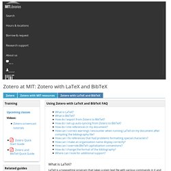 Zotero with LaTeX and BibTeX - Zotero at MIT - LibGuides at MIT Libraries