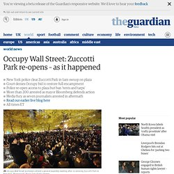 Occupy Wall Street: Zuccotti Park eviction - live updates