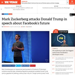Mark Zuckerberg attacks Donald Trump in speech about Facebook's future