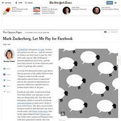 Mark Zuckerberg, Let Me Pay for Facebook