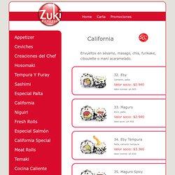 Carta Zuki, sashimi, niguiri, cocina caliente, Rolls palta, California Rolls