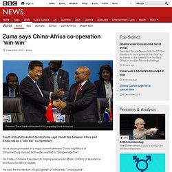 Zuma says China-Africa co-operation 'win-win'