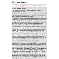 Zürcher Appell - International Appeal - in English