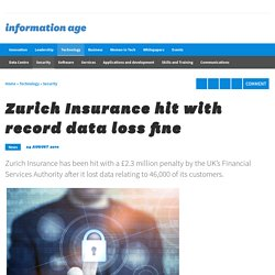 Zurich Insurance hit with record data loss fine