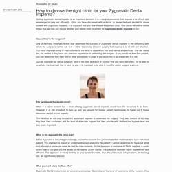 How to choose the right clinic for your Zygomatic Dental Implants?