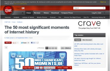 http://crave.cnet.co.uk/software/the-50-most-significant-moments-of-internet-history-49299033/