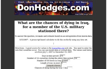 http://donhodges.com/chances_of_dying_in_iraq.html