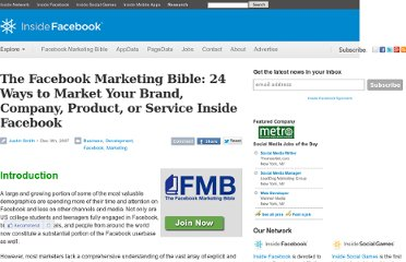 http://www.insidefacebook.com/2007/12/09/inside-facebook-marketing-bible-24-ways-to-market-your-brand-company-product-or-service-in-facebook/