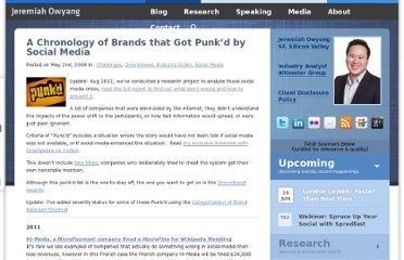 http://www.web-strategist.com/blog/2008/05/02/a-chonology-of-brands-that-got-punkd-by-social-media/