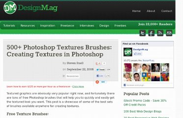 http://designm.ag/resources/photoshop-texture-brushes/