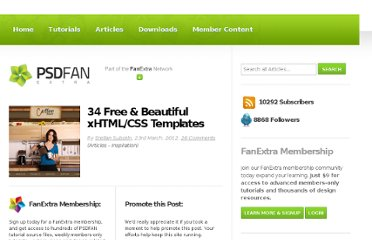 http://psd.fanextra.com/articles/34-free-beautiful-xhtmlcss-templates/
