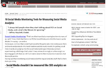 http://www.dailybloggr.com/2010/03/social-media-monitoring-tools-analytics/