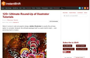http://www.instantshift.com/2009/03/19/125-ultimate-round-up-of-illustrator-tutorials/