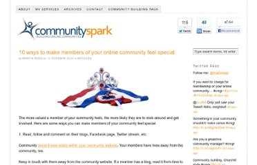 http://www.communityspark.com/10-ways-to-make-members-of-your-online-community-feel-special/