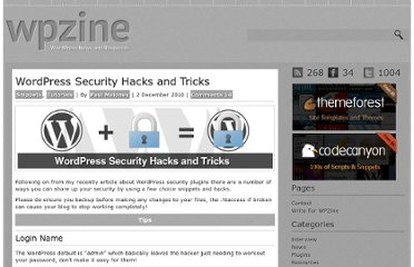 http://wpzine.com/wordpress-security-hacks-and-tricks/