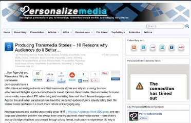 http://www.personalizemedia.com/producing-transmedia-stories-10-reasons-why-audiences-do-it-better/