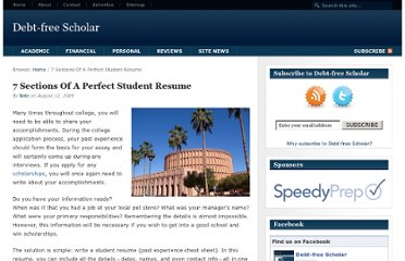 http://www.debtfreescholar.com/2009/08/7-sections-of-a-perfect-student-resume/