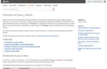 http://office.microsoft.com/en-us/access-help/examples-of-query-criteria-HA010066611.aspx