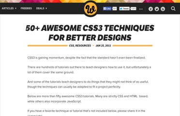 http://www.webdesignerdepot.com/2011/01/50-awesome-css3-techniques-for-better-designs/