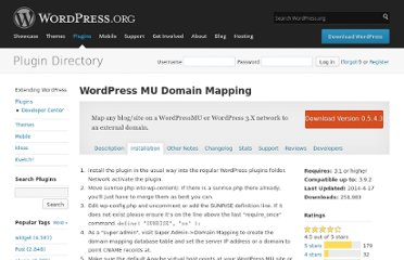 http://wordpress.org/extend/plugins/wordpress-mu-domain-mapping/installation/