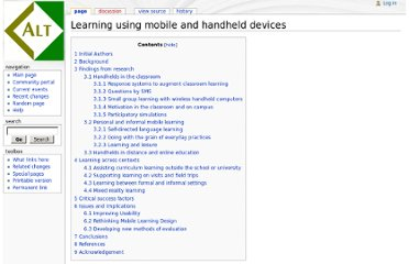 http://wiki.alt.ac.uk/index.php/Learning_using_mobile_and_handheld_devices