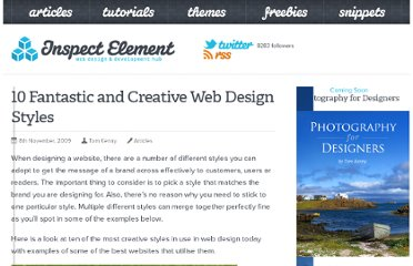 http://inspectelement.com/articles/10-fantastic-and-creative-web-design-styles/