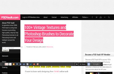 http://www.psdvault.com/resources/100-vintage-textures-and-photoshop-brushes-to-decorate-your-design/