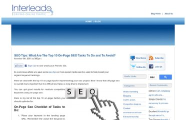 http://www.interleado.com/blog/index.php/2009/11/19/seo-tips-what-are-the-top-10-on-page-seo-tasks-to-do-and-to-avoid/