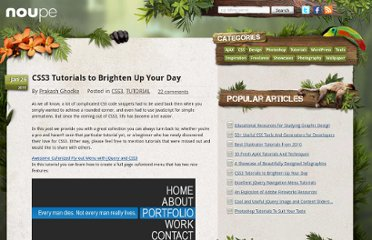 http://www.noupe.com/tutorial/css3-tutorials-to-brighten-up-your-day.html