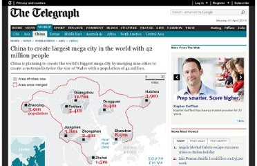 http://www.telegraph.co.uk/news/worldnews/asia/china/8278315/China-to-create-largest-mega-city-in-the-world-with-42-million-people.html