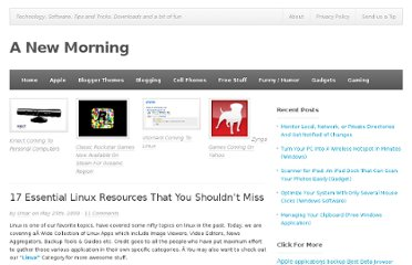 http://www.anewmorning.com/2009/05/25/17-essential-linux-resources-that-you-shouldnt-miss/