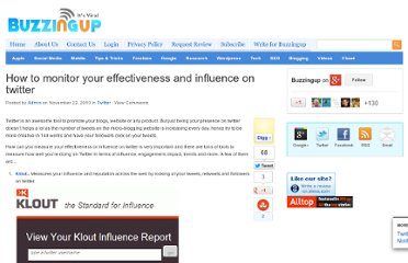 http://www.buzzingup.com/2010/11/how-to-monitor-your-effectiveness-and-influence-on-twitter/