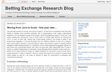 http://blog.danmachine.com/2011/01/moving-from-java-to-scala-one-year.html